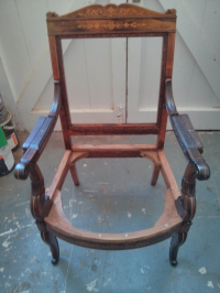 Repairs to seat frame of Edwardian Armchair
