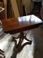 Regency Card Table - repairs to loose veneer and repolishing