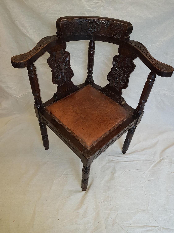 Victorian carved oak corner chair