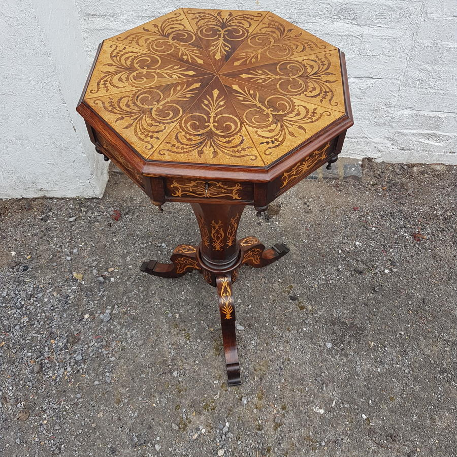 Victorian boxwood inlaid trumpet sewing table