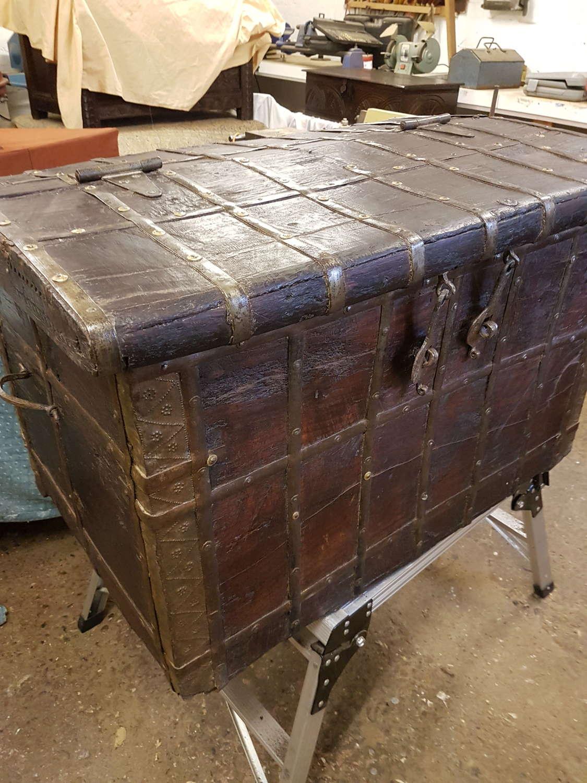 19th century teak iron bound sea chest