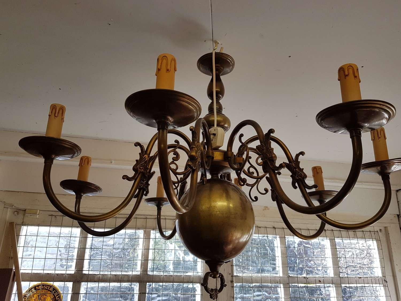 Large Vintage Flemish Brass Chandelier