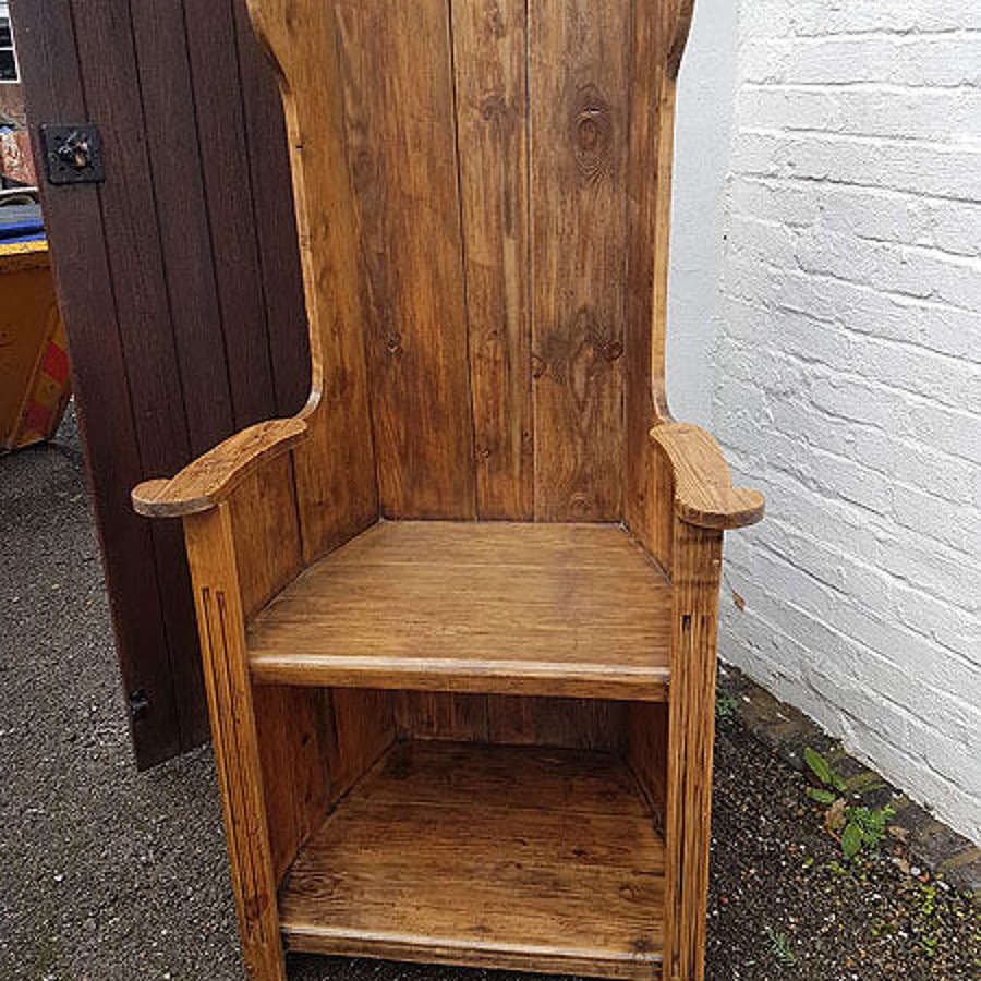 Early 20th Century  Pitch Pine Lambing Chair