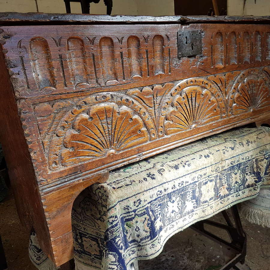 16/17th century Antique English carved oak and elm six plank coffer